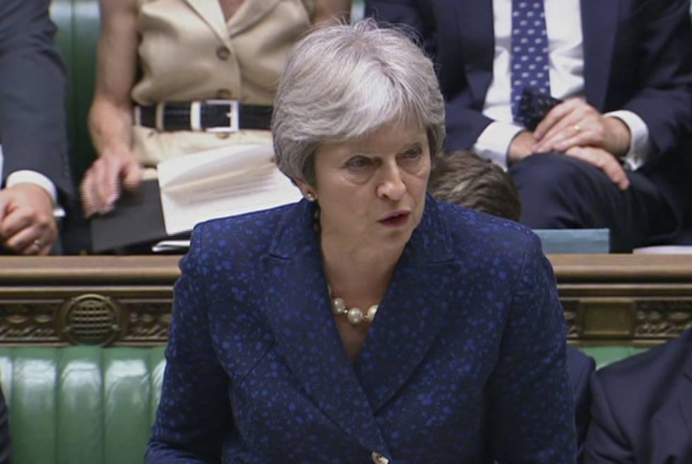 Theresa May durante una intervención en el Parlamento de Westminster.