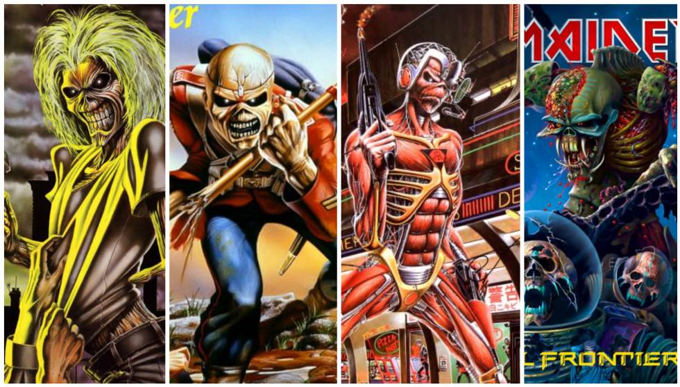 La evolución de Eddie se puede apreciar en las portadas de los discos de Iron Maiden. En la imagen, 'Killers' (1981), 'The Trooper' (1983), 'Somewhere in time' (1986) y 'The Final Frontier' (2010).