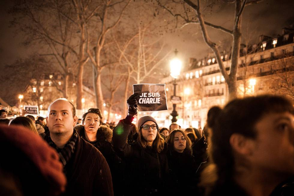 Demonstration in support of Charlie Hebdo in Paris.