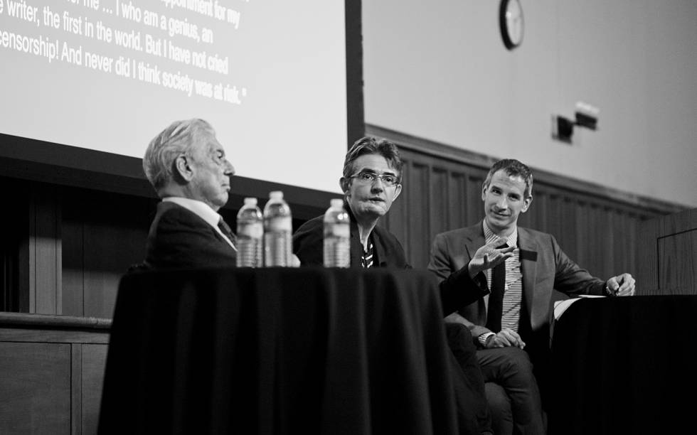 Vargas Llosa, Philippe Lançon and Rubén Gallo at a lecture in November 2015 at Princeton University. It's one of the few photos of the writer after the attack.