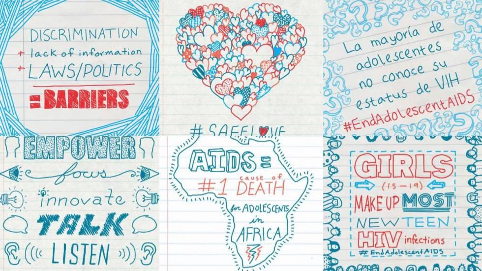 Imágenes de la campaña de Unicef para frenar el VIH entre adolescentes.