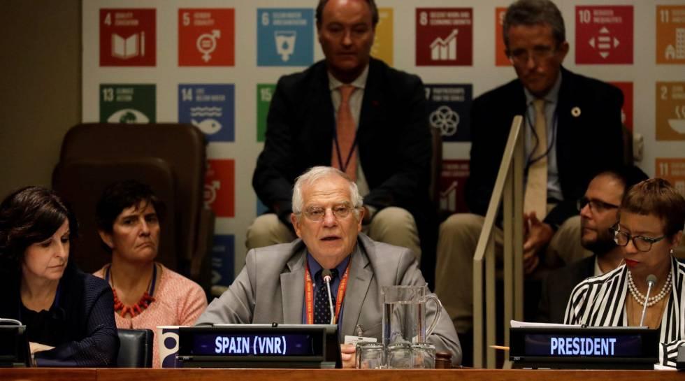 El ministro de Asuntos Exteriores, Josep Borrell, durante el examen de España ante la ONU en el Foro Político de Alto Nivel.