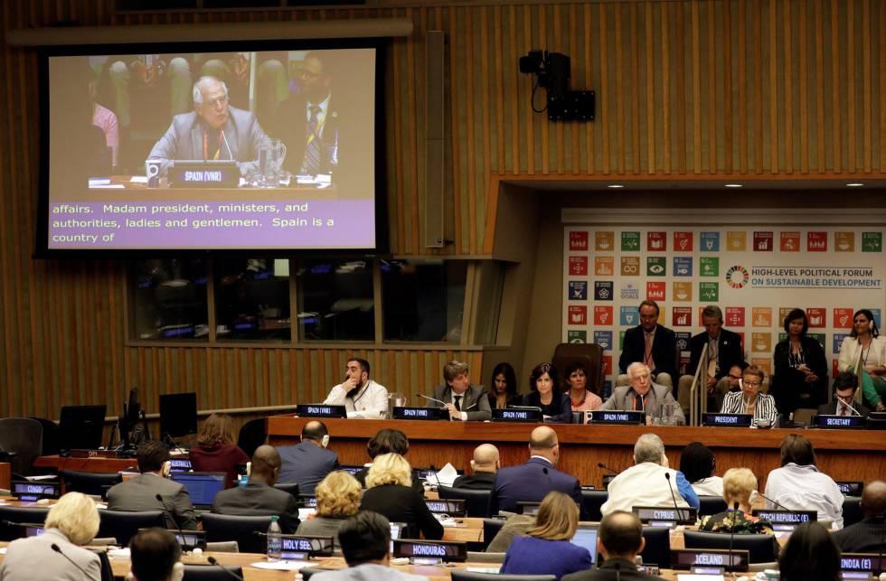El ministro español de Asuntos Exteriores, Josep Borrell Fontelles, participa en una reunión ministerial del Foro de Alto Nivel de la Naciones Unidas sobre el Desarrollo Sostenible.