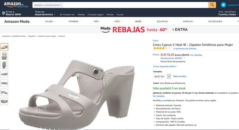 05d30b1ee1cc Página de Amazon España en la que están disponibles varios modelos de la  sandalia con tacón