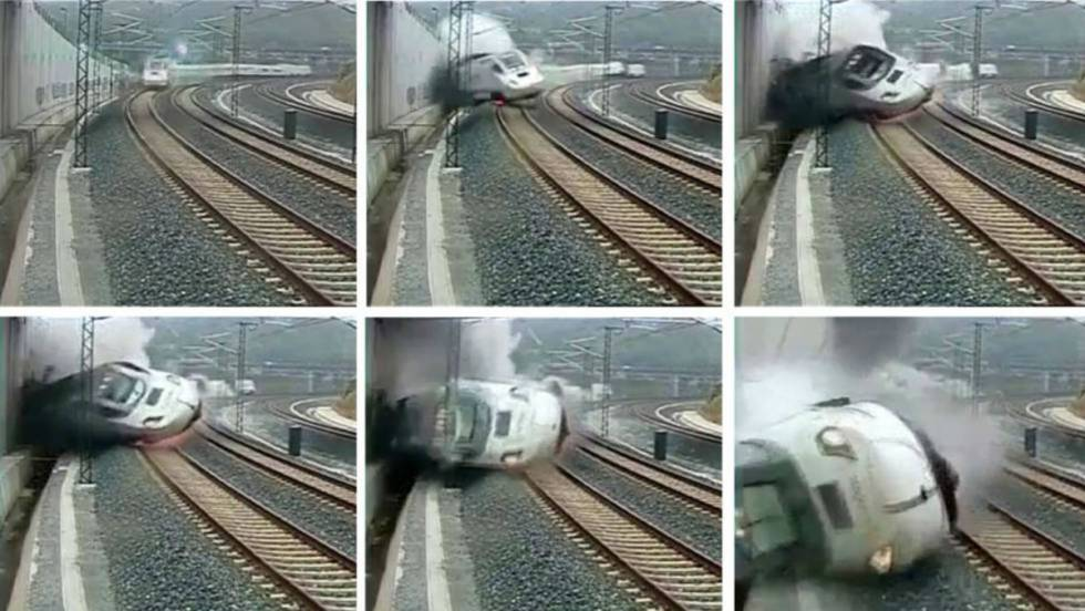 The High Speed Train Derailed And Slammed Against A Wall