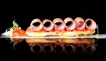 Tosta de presa ibérica semicurada, una de las propuestas de la carta del restaurante El Campero.