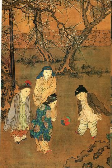 Pintura de mujeres jugando al cuju del artista chino Su Hanchen.