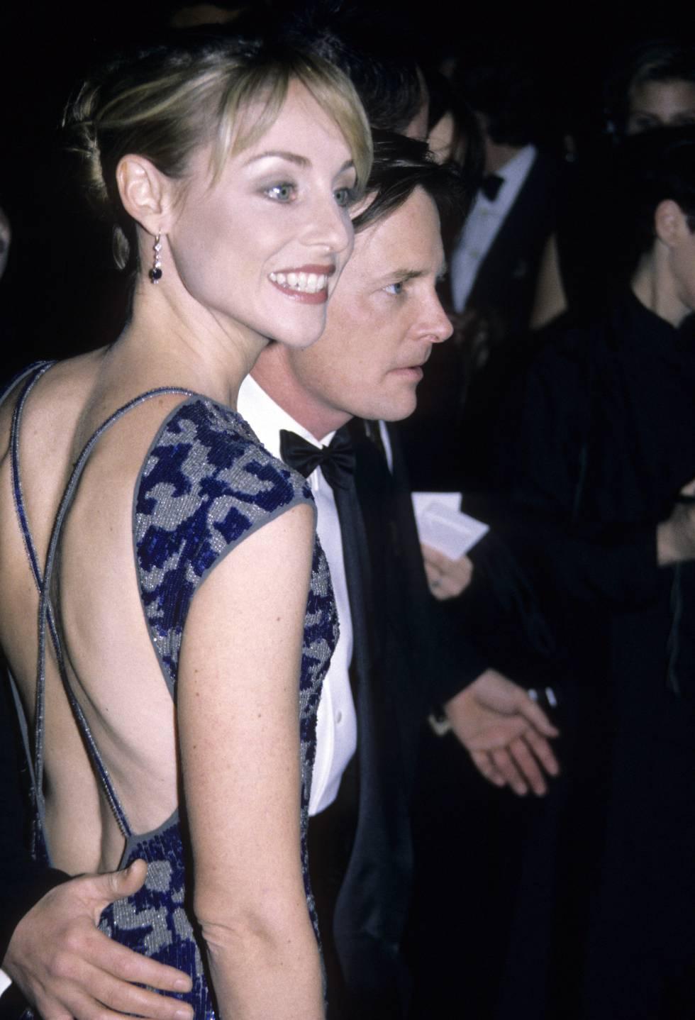 Michael J. Fox con su esposa, Tracy Pollan, en un evento en Nueva York en 1995.