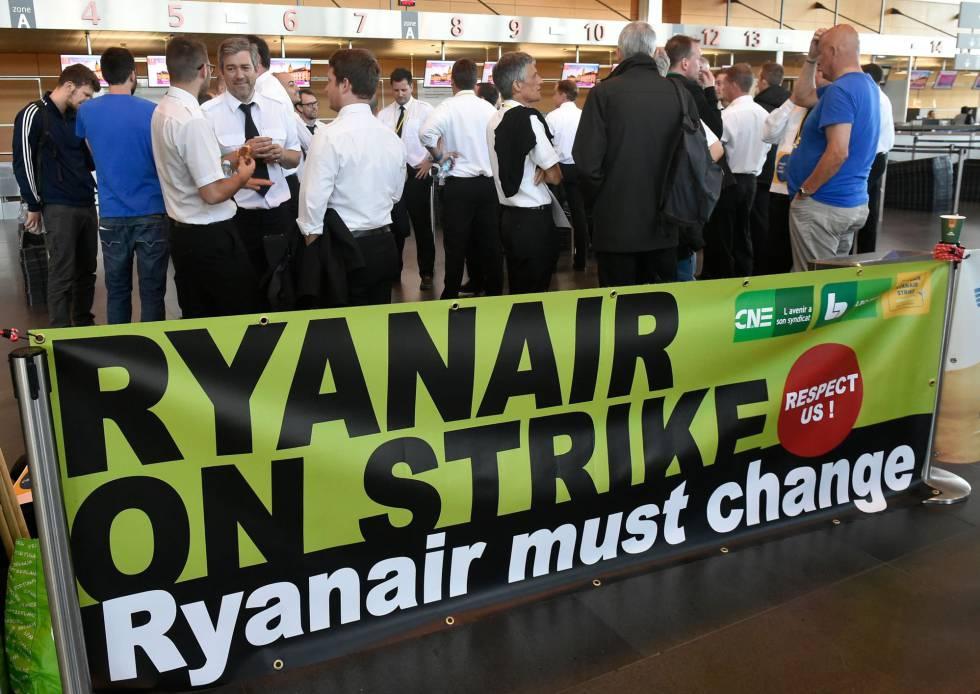 Belgium-based Ryanair pilots gather at Charleroi Airport as part of a European-wide strike.