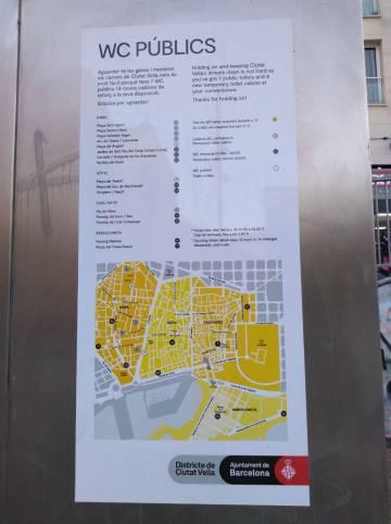 Mapa de los WC públicos en el Distrito de Ciutat Vella