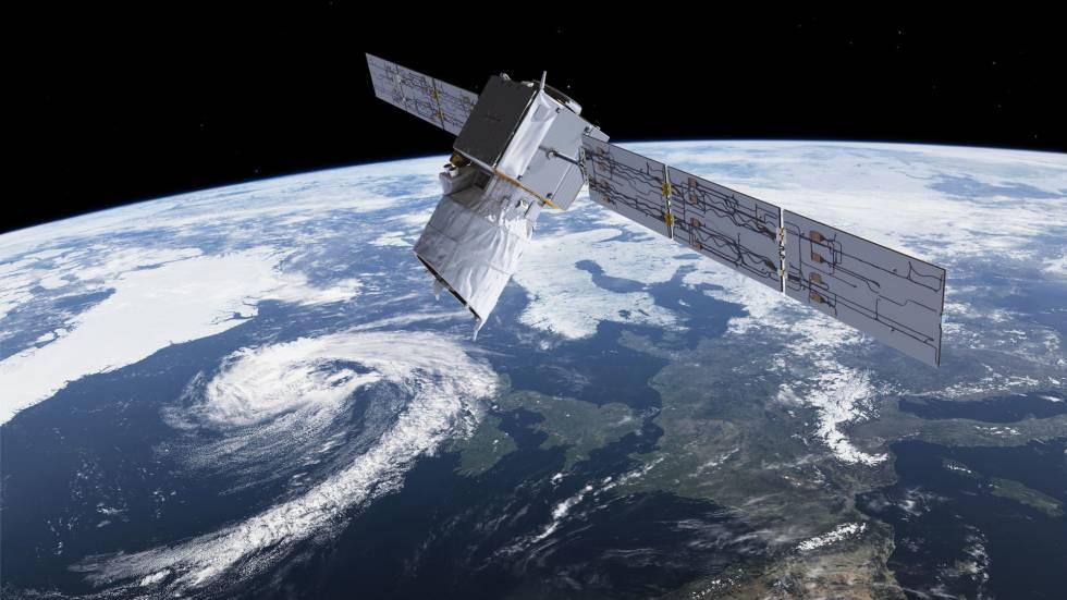 Recreación del satélite 'Aeolus' en el espacio.