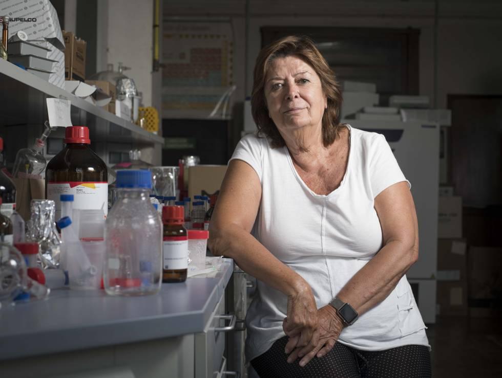 La química María Vallet, en su laboratorio de la Universidad Complutense de Madrid.
