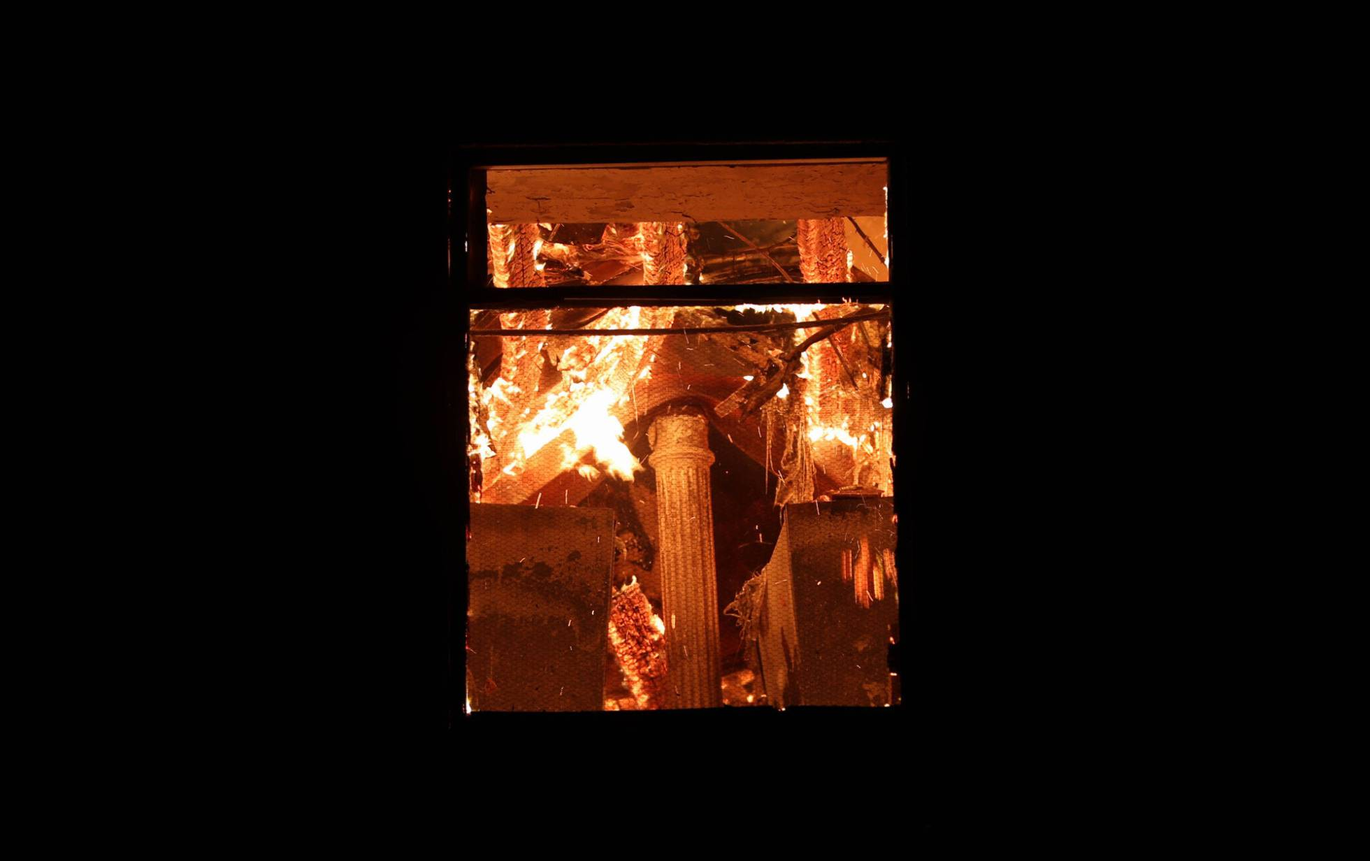 Vista del incendio del Museo Nacional de Brasil