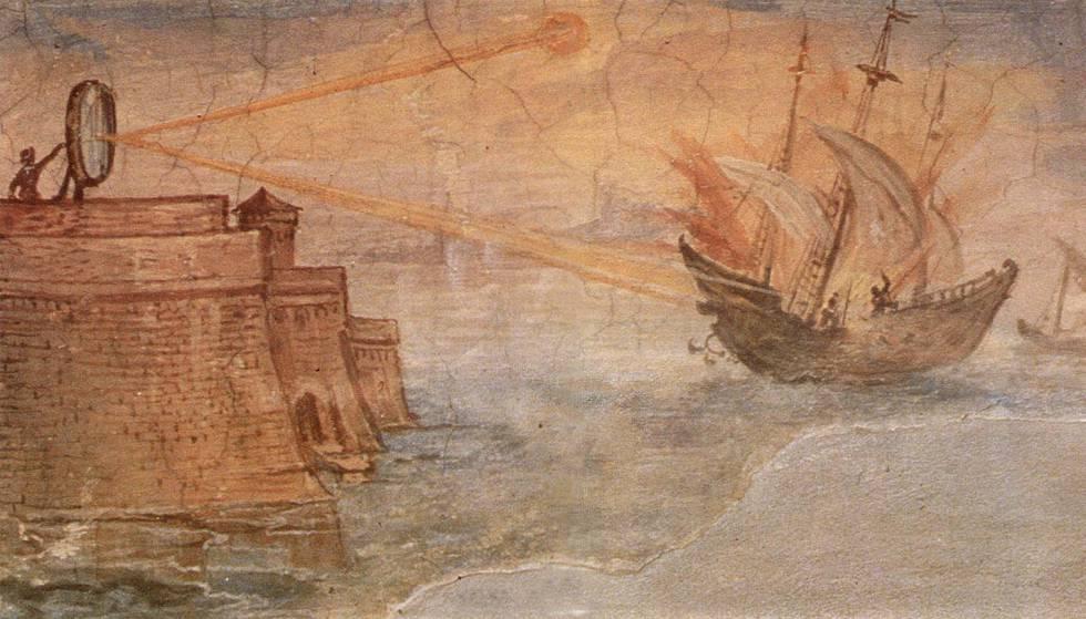 Pintura de Giulio Parigi representando el incendio de una nave romana utilizando un espejo ustorio durante el sitio de Siracusa (Galería de los Uffizi, Florencia).