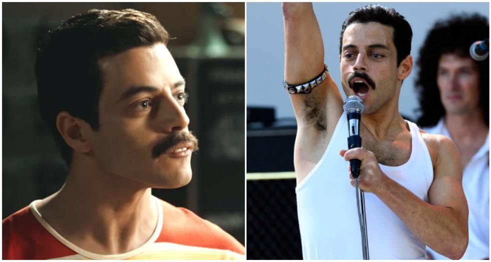 """""""No es por tirarme flores, pero me quedaba muy bien vestir como Mercury. Me divertí mucho llevando esas prendas"""", asegura a ICON el actor. En la imagen, dos fotos de Rami Malek caracterizado como el líder de Queen."""