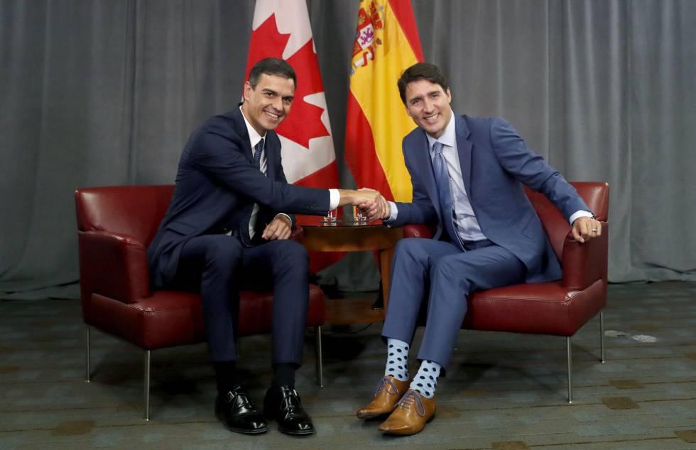 El presidente del Gobierno español, Pedro Sánchez, y primer ministro canadiense, Justin Trudeau, en Montreal, el pasado domingo.