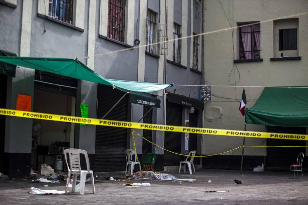 La plaza de Garibaldi acordonada, tras un tiroteo.