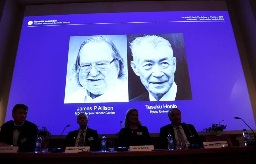 James P. Allison y Tasuku Honjo han sido galardonados hoy con el Nobel de Medicina.