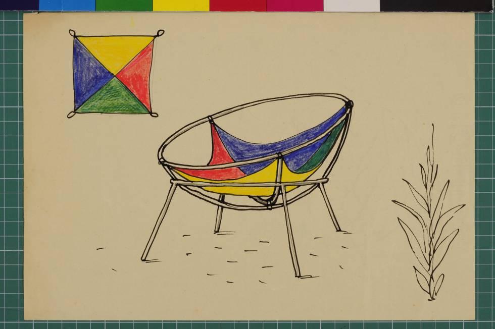 Proyecto para una versión del sillón Bardi's Bowl de 1951.