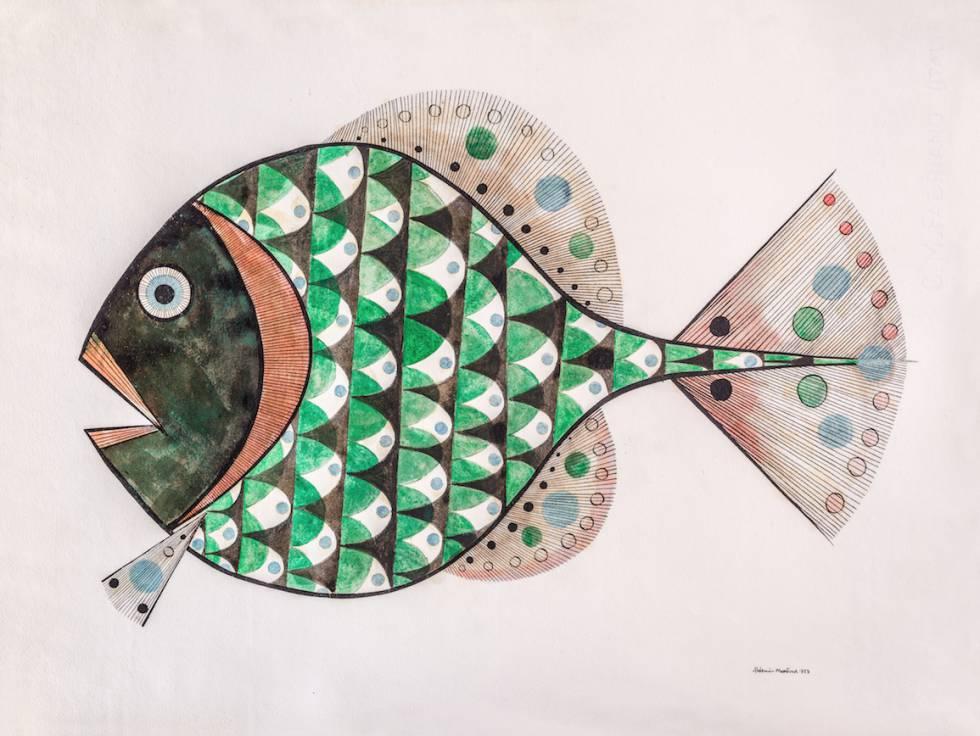 'Aldemir Martins Peixe' (pez), un dibujo de tinta china y acuarela de 1957.