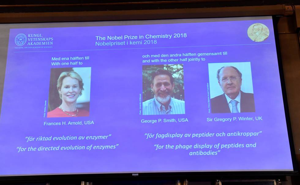 Momento del anuncio de los tres ganadores del Nobel de Química 2018.