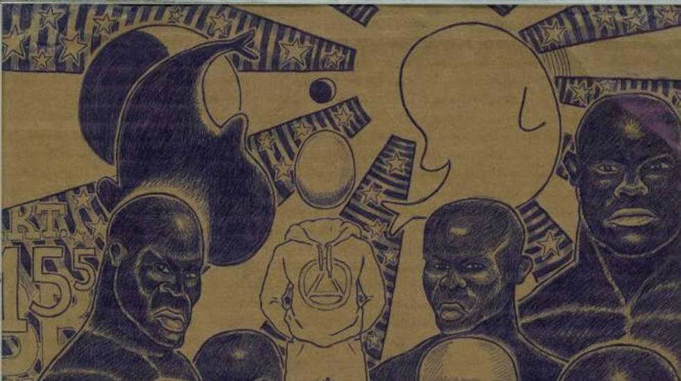 Dibujo realizado por el ecuatoguineano Ramón Esono, desde la prisión de Black Beach, en Malabo.