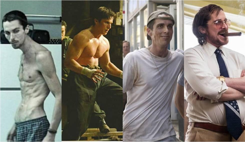 De izquierda a derecha, los cambios de peso según los redajes de Christian Bale: 'El maquinista', 'Batman Begins', 'The fighter' y 'La gran estafa americana'.