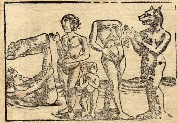 Xilografía de Sebastian Münster de 1544 que representa, de izquierda a derecha, un esciápodo, un cíclope, unos siameses, un blemio y un cinocéfalo.