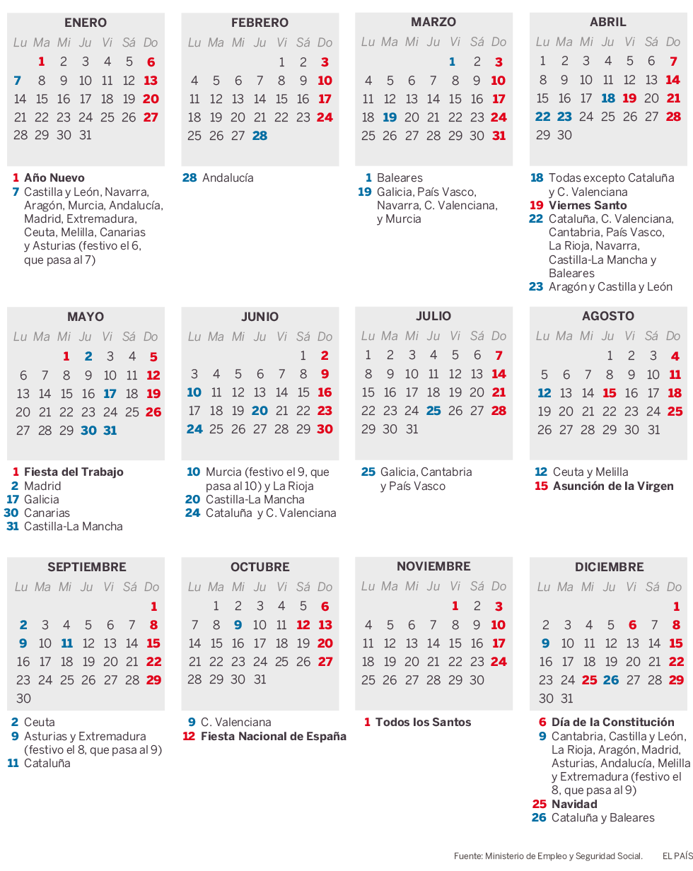 Calendario Laboral Pais Vasco 2019.Calendario Laboral Para 2019 Folguztiafp