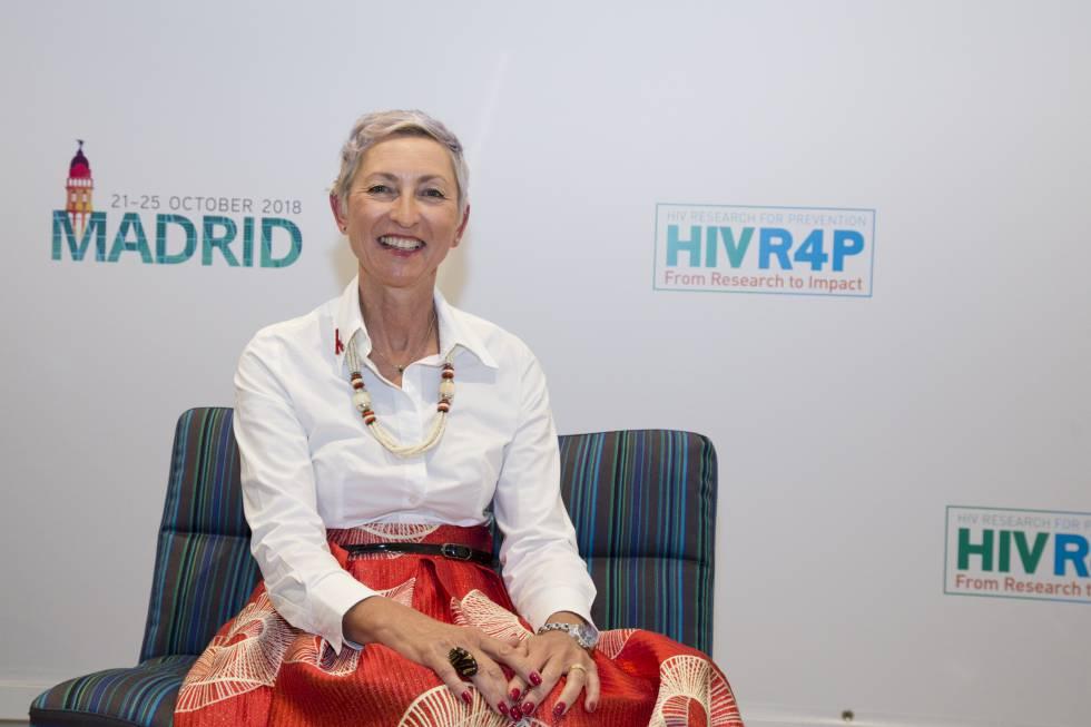 La investigadora Linda-Gail Bekker en la sede del congreso HIVR4P en Madrid.