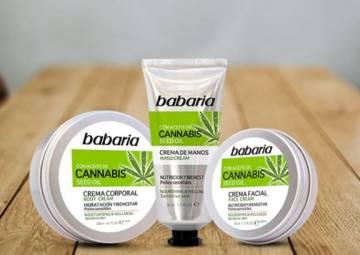 Crema corporal, crema de manos y crema facial con cannabis de Babaria.