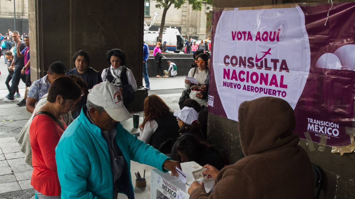 Una de las casillas de votación, en el centro de Ciudad de México.