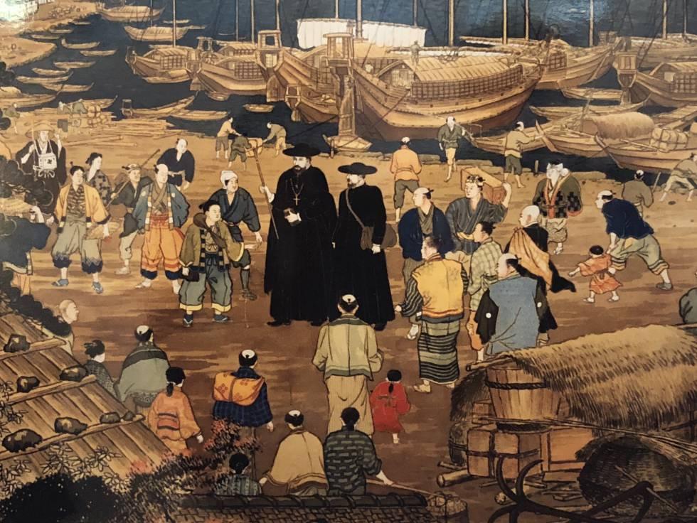 Pintura japonesa interpretando la llegada de los jesuitas a Japón