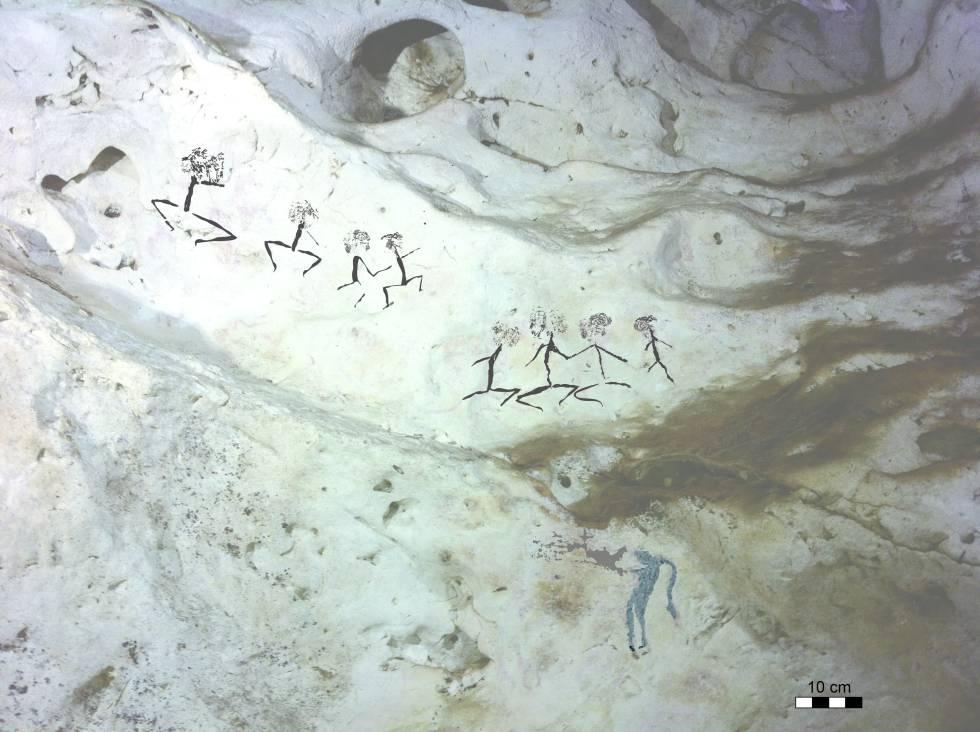 Figuras humanas de entre 13.600 y 20.000 años halladas en las cavidades de Borneo.