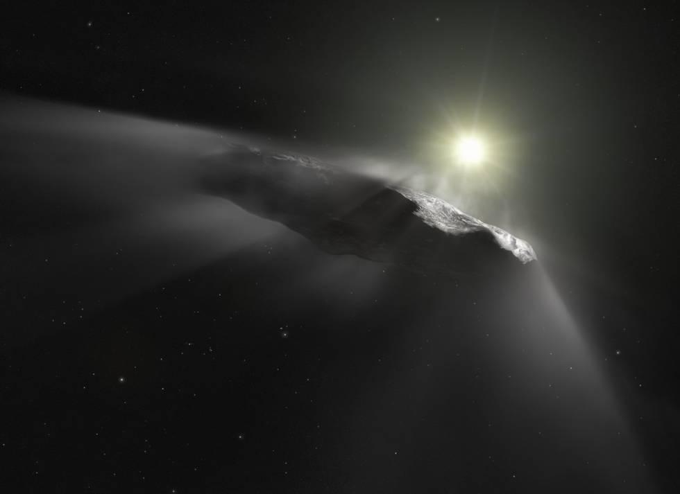 Recreación artística de Oumuamua, un objeto interestelar.