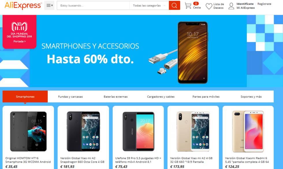Página con ofertas en 'smartphones' en eBay.es con motivo de su campaña previa al 'Black Friday'.