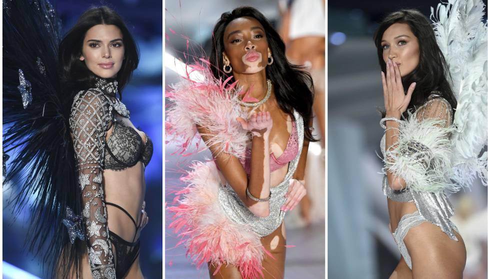 Las modelos Kendall Jenner, Winnie Harlow y Bella Hadid, en el desfile de Victoria's Secret 2018, en Nueva York.