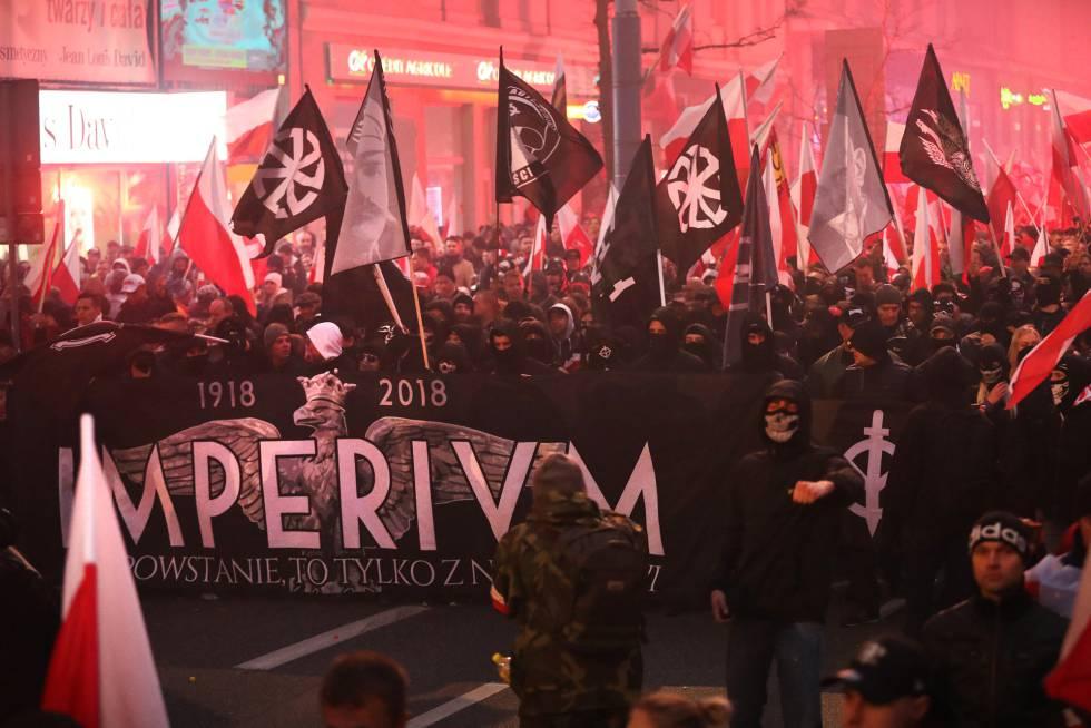 Grupos de extrema derecha se manifiestan en Varsovia el pasado domingo.