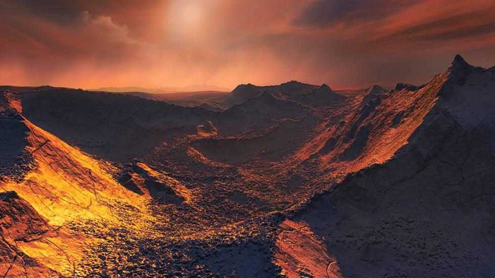 Reconstrução da superfície do novo planeta.
