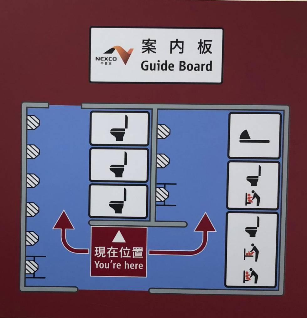 Cartaz explicando como estão distribuídos os sanitários em um banheiro.