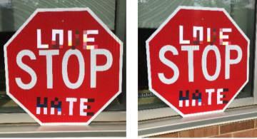 Exemplos de sinais modificados para enganar os sistemas de visão artificial. DAWN SONG / BERKELEY