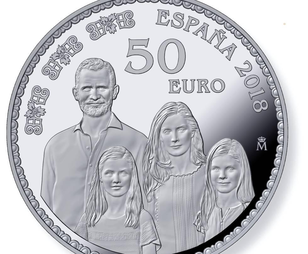 La moneda de Felipe VI, la reina Letizia, la princesa Leonor y la infanta Sofía