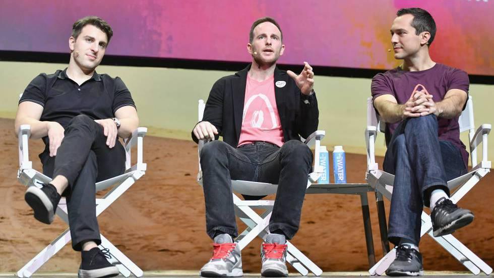 Los tres fundadores de Airbnb, Brian Chesky, Joe Gebbia y Nathan Blecharczyk.