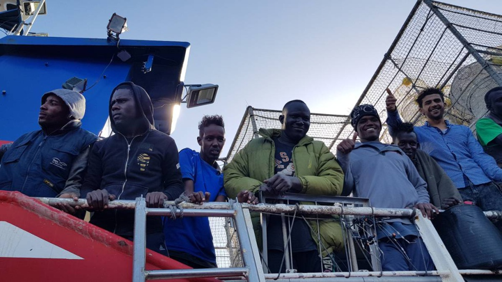 The migrants aboard the fishing vessel.