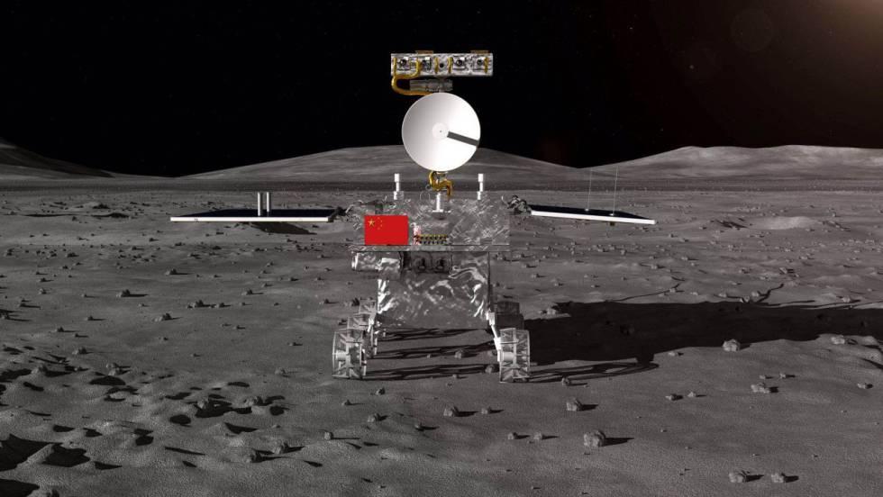 Imagen del robot sobre la superficie de la Luna.