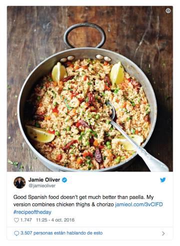 El polémico tuit del chef inglés Jamie Oliver que levantó ampollas entre los ortodoxos de la paella.