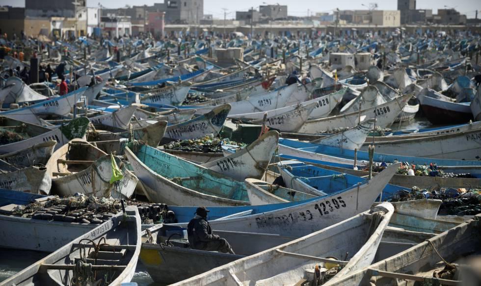 Barcos artesanales en Nouadhibou, Mauritania.