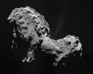 O cometa 67PChuryumov–Gerasimenko, fotografado pela Missão Rosetta em 19 de setembro de 2014. O objetivo original da Rosetta era o 46PWirtanen, mas a NASA perdeu o prazo para lançá-la a tempo.