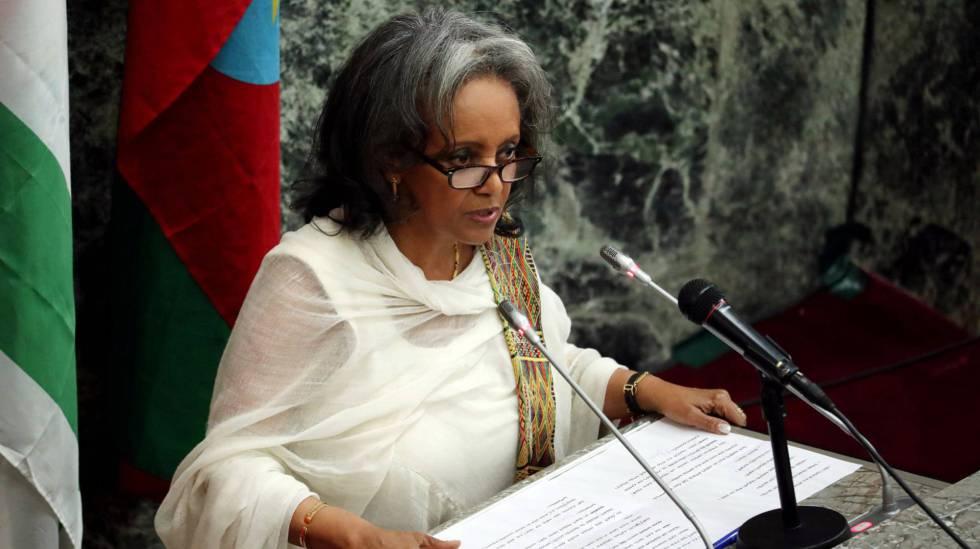 La presidenta Sahlework Zewde, en Addis Abeba.