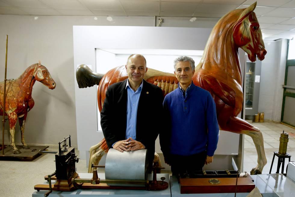 Pedro Luis Lorenzo, decano de Veterinaria, y Joaquín Sánchez de Lollano, director del Museo.
